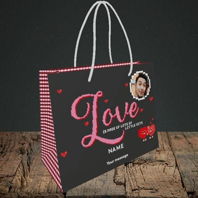 Picture of Love Bits, Valentine's Design, Small Landscape Gift Bag
