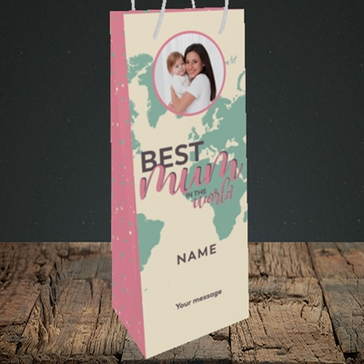 Picture of Best Mum In The World, Mother's Day Design, Bottle Bag