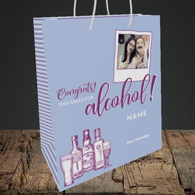Picture of Calls For Alcohol, Celebration Design, Medium Portrait Gift Bag
