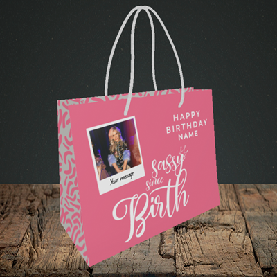 Picture of Sassy, Birthday Design, Small Landscape Gift Bag
