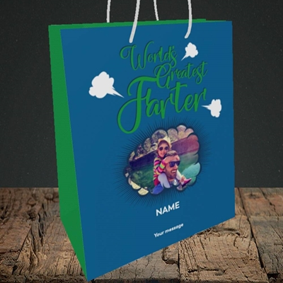 Picture of Worlds Greatest Farter, Father's Day Design, Medium Portrait Gift Bag