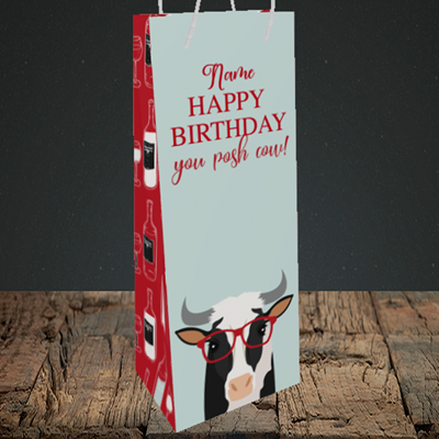 Picture of Cow, (Without Photo) Birthday Design, Bottle Bag