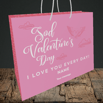 Picture of Sod Valentine's Day, (Without Photo) Valentine's Design, Medium Landscape Gift Bag