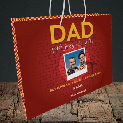 Picture of Dad Jokes, Father's Day Design, Medium Landscape Gift Bag