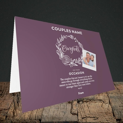 Picture of Wreath Purple, Anniversary Design, Landscape Greetings Card