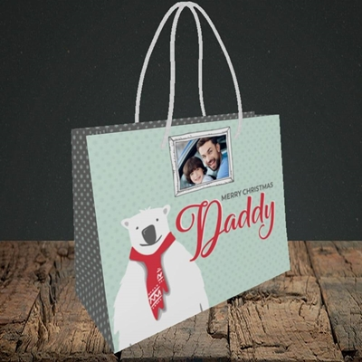 Picture of Daddy Polar Bear, Christmas Design, Small Landscape Gift Bag