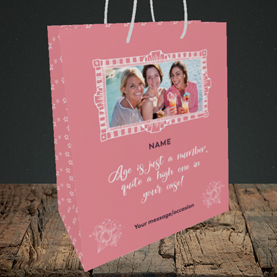 Picture of Age, Birthday Design, Small Portrait Gift Bag