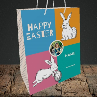Picture of 4 Colour Bunnies, Easter Design, Medium Portrait Gift Bag