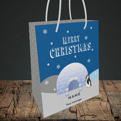 Picture of Igloo Penguin(Without Photo), Christmas Design, Small Portrait Gift Bag