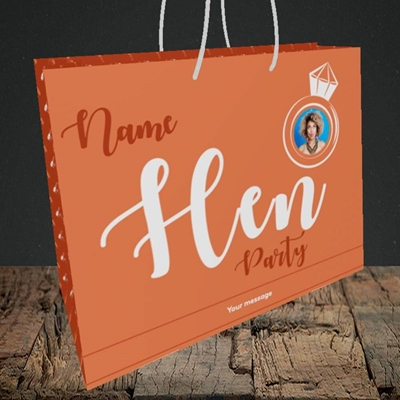 Picture of Hen Party Orange, Wedding Design, Medium Landscape Gift Bag