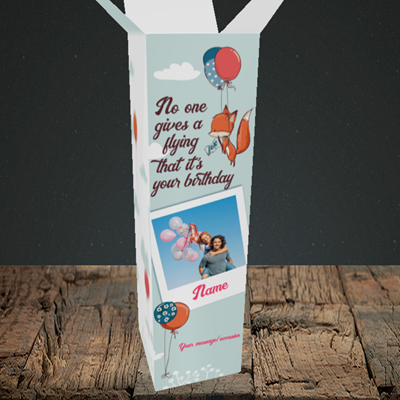 Picture of Fox, Birthday Design, Upright Bottle Box