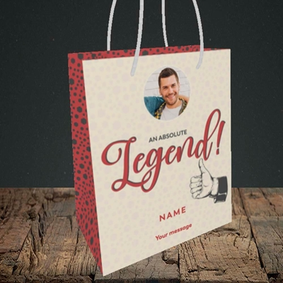 Picture of Absolute Legend, Thank You Design, Small Portrait Gift Bag