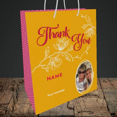 Picture of Flowers, Thank You Design, Medium Portrait Gift Bag