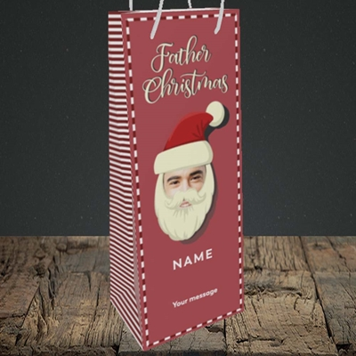 Picture of Father Christmas Mask, Christmas Design, Bottle Bag