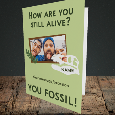 Picture of Fossil, Birthday Design, Portrait Greetings Card