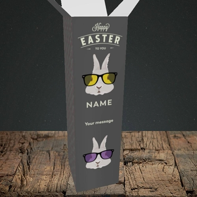 Picture of Hipster Bunnies(Without Photo), Easter Design, Upright Bottle Box