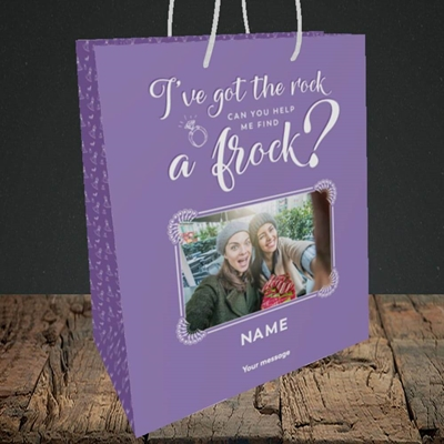 Picture of Got The Rock, Wedding Design, Medium Portrait Gift Bag