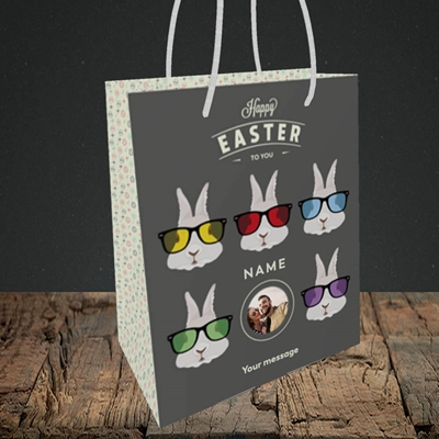 Picture of Hipster Bunnies, Easter Design, Small Portrait Gift Bag