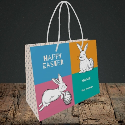 Picture of 4 Colour Bunnies(Without Photo),  Easter Design, Small Landscape Gift Bag