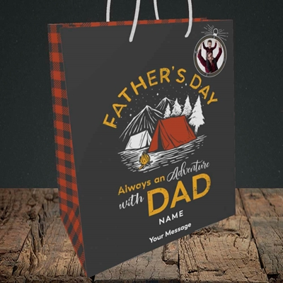 Picture of Adventure With Dad, Father's Day Design, Medium Portrait Gift Bag