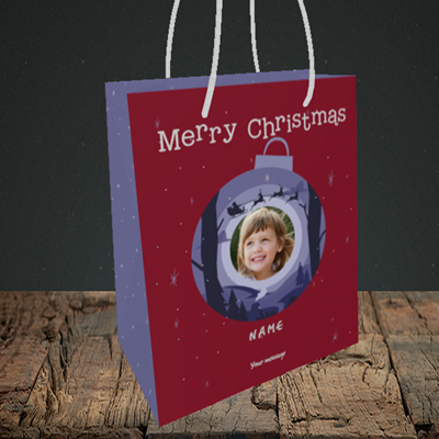 Picture of Bauble Scene, Christmas Design, Small Portrait Gift Bag