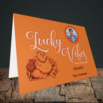 Picture of Lucky Vibes, Good Luck Design, Landscape Greetings Card