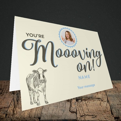 Picture of Moooving On, Leaving Design, Landscape Greetings Card