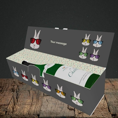 Picture of Hipster Bunnies(Without Photo), Easter Design, Lay-down Bottle Box