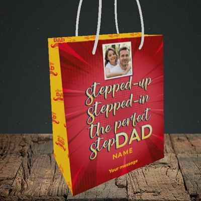 Picture of Stepped Up, Father's Day Design, Small Portrait Gift Bag