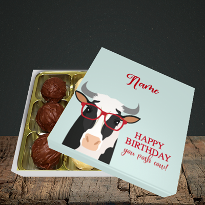 Picture of Cow, (Without Photo) Birthday Design, Choc 9
