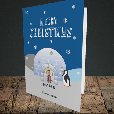 Picture of Igloo Penguin, Christmas Design, Portrait Greetings Card