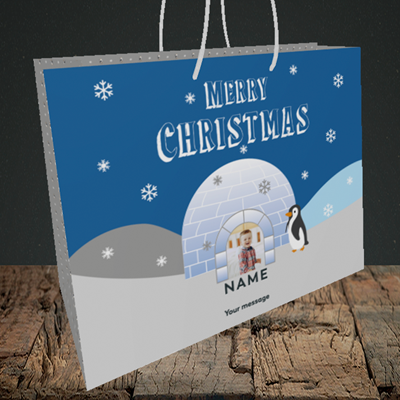 Picture of Igloo Penguin, Christmas Design, Medium Landscape Gift Bag
