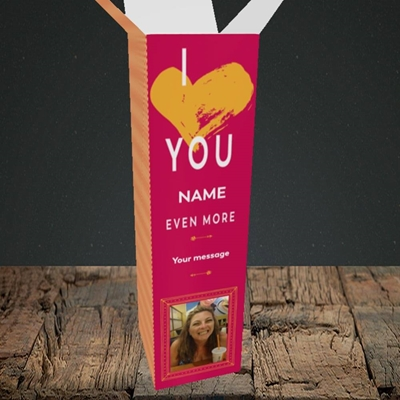 Picture of Love You Even More, Anniversary Design, Upright Bottle Box