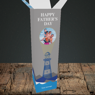 Picture of Lighthouse, Father's Day Design, Upright Bottle Box