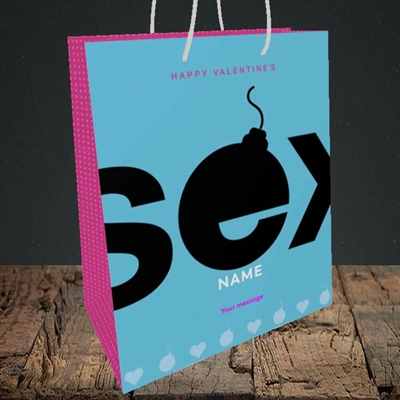 Picture of Sex Bomb - Blue(Without Photo), Valentine's Design, Medium Portrait Gift Bag