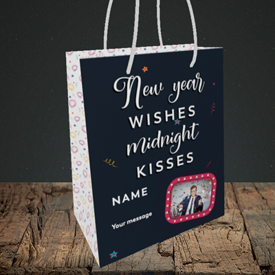 Picture of Midnight Kisses, New Year Design, Small Portrait Gift Bag