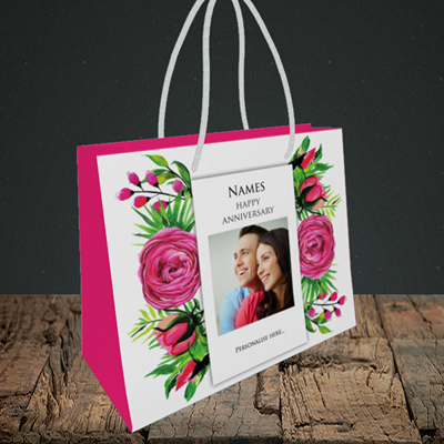 Picture of Flowers, Anniversary Design, Small Landscape Gift Bag