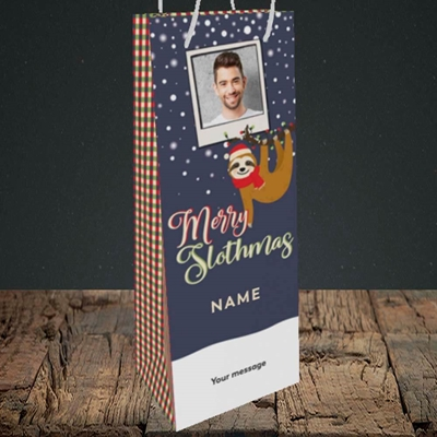Picture of Merry Slothmas, Christmas Design, Bottle Bag