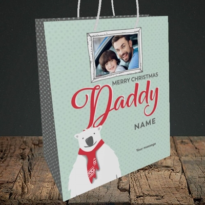 Picture of Daddy Polar Bear, Christmas Design, Medium Portrait Gift Bag