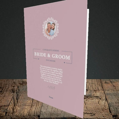 Picture of Traditional Foliage Pink B&G, Wedding Design, Portrait Greetings Card