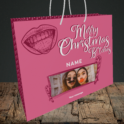 Picture of Merry Christmas Bitches, Christmas Design, Medium Landscape Gift Bag