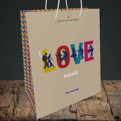 Picture of Let's Love Let's Dance(Without Photo), Valentine's Design, Medium Portrait Gift Bag