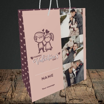Picture of Holding Hands, Valentine's Design, Medium Portrait Gift Bag