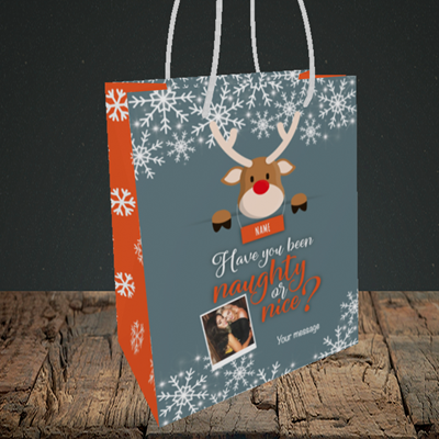 Picture of Naughty, Christmas Design, Small Portrait Gift Bag
