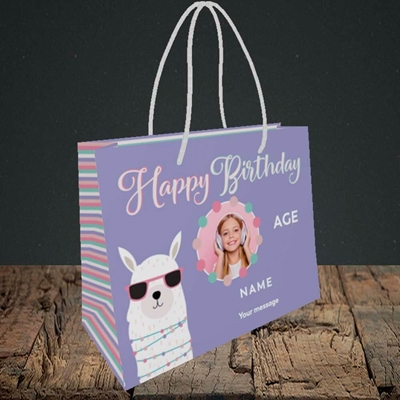 Picture of Cool Lama, Birthday Design, Small Landscape Gift Bag
