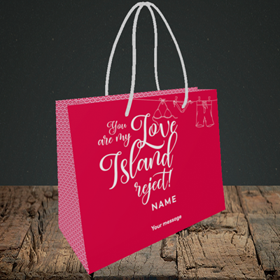 Picture of Love Island Reject, (Without Photo) Valentine's Design, Small Landscape Gift Bag