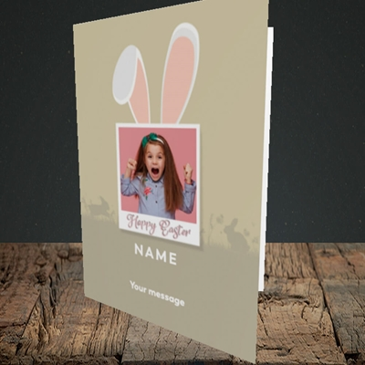 Picture of Hoppy Polaroid, Easter Design, Portrait Greetings Card