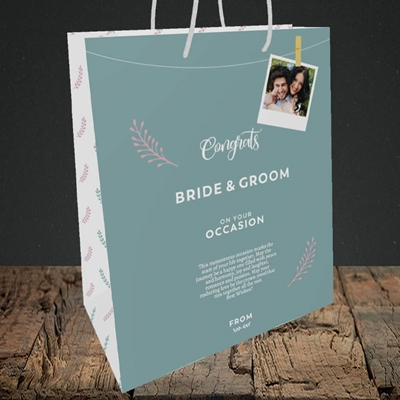 Picture of Peg & Polaroid Teal B&G, Wedding Design, Medium Portrait Gift Bag