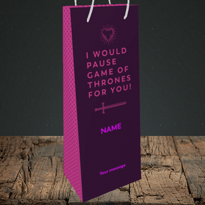 Picture of Game Of Thrones, (Without Photo) Valentine's Design, Bottle Bag