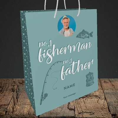 Picture of Fisherman, Father's Day Design, Medium Portrait Gift Bag